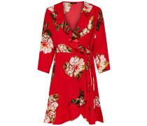 Kleid beige / dunkelgrün / rot