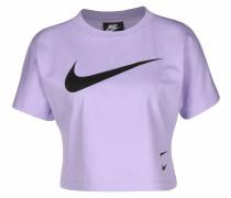 T-Shirt 'Swoosh' lila / schwarz