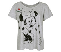 T-Shirt 'minney' grau / rot / schwarz