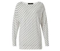 Oversize-Pullover schwarz / perlweiß