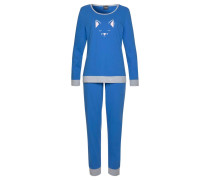 Pyjama 'Dreams' blau / graumeliert / rosa