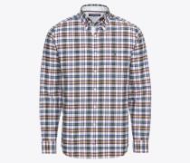 Hemd pastellblau / khaki / weiß