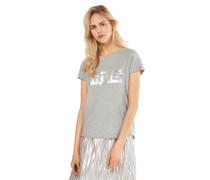 Shirt 'boxy' graumeliert / silber