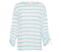 Shirt mit gerafften Ärmeln türkis / weiß