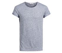 Leinenmischfaser-T-Shirt blaumeliert