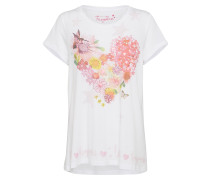 T-Shirt 'heart flower' pink / weiß