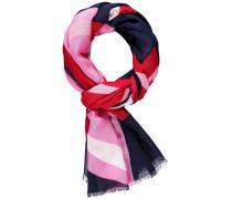 Schal nachtblau / pink / rot / weiß