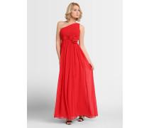 Kleid mit asymmetrischem Ausschnitt hellrot