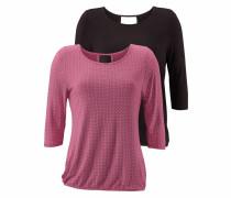 ¾ Shirt (2 Stück) dunkelpink / schwarz