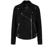 Jacke Seitengürtel Leder schwarz