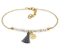 Armband 'Peace-Zeichen' gold / schwarz