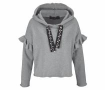 Jeans Kapuzensweatshirt grau / schwarz