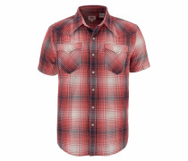 Kurzarmhemd dunkelblau / rot
