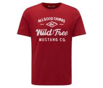 T-Shirt feuerrot / weiß