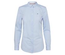klassische Bluse rauchblau / weiß