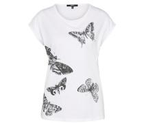 T-Shirt 'Skull moths' anthrazit / weiß