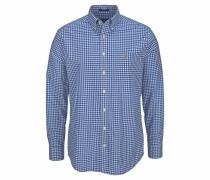 Langarmhemd 'Gingham' blau / weiß