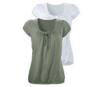 Shirts oliv / grasgrün / weiß