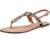 Sandaletten camel / gold / silber