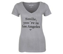 T-Shirt 'overdyed V-Neck Smile' grau