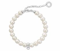 Charm-Armband silber / perlweiß
