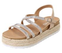 Sandalette 'ramone' nude / silber / weiß