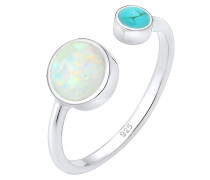 Ring 'Opal' neonblau / silber