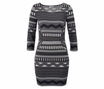 Jerseykleid grau / schwarz / weiß