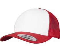 Retro Trucker Cap feuerrot / weiß
