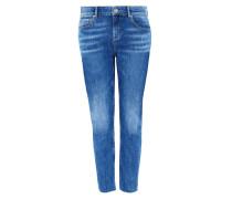 Skinny High-Waist-Jeans blau