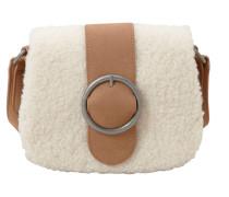 City Bag mit Plüsch-Besatz braun