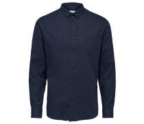 Slim Fit Langarmhemd dunkelblau
