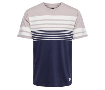 T-Shirt hellbeige / dunkellila / weiß