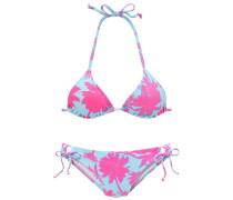 Triangel-Bikini hellblau / neonpink