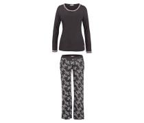 Langer Pyjama schwarz mit rosa Spitze und edlem Kontrastprint