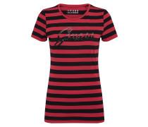 T-Shirt 'shiny Logo Tee' blutrot / schwarz