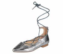 Ballerina mit Knöchelschnürung silber
