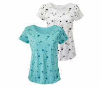 T-Shirt (2 Stück) mint / schwarz / weiß