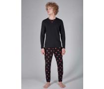 Herren Sloungewear Pyjama lang mit Sternen-Print