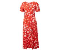 Wickelkleid mit Blumenmuster orangerot