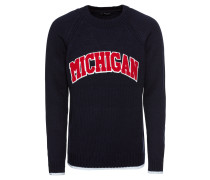 Strickpullover 'michigan' navy / rot