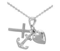 Halskette »Glaube Liebe Hoffnung / Kreuz Herz Anker«