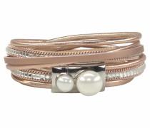 Wickelarmband bronze / silber / perlweiß