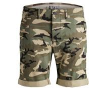 Shorts beige / dunkelgrün / schwarz