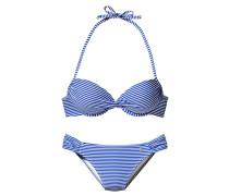 Push-Up-Bikini blau / weiß