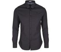 Hemd mit feiner Musterung schwarz