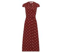 Dress 'Polka Dot Wrap' rostrot / weiß