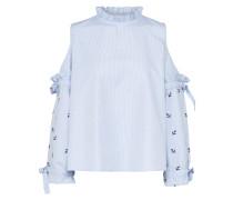 Bluse mit Schulter Cut Outs blau