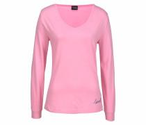 Dreams Langarmshirt mit V-Ausschnitt pink