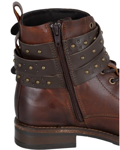 Boots 'Bootie Laces Belts Studs' schoko